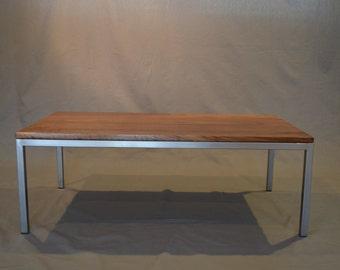 Modern Solid Walnut and raw steel coffee table