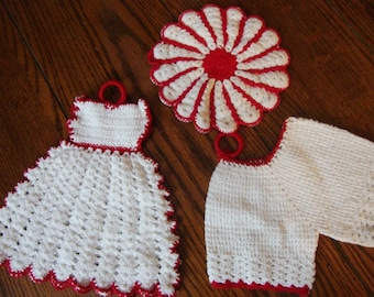 Pot Holder Set Hand Crochet Dress with Hot Pad Red and White