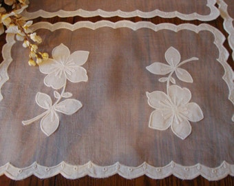 Organdy Placemats Set of Three Vintage Sheer Doilies