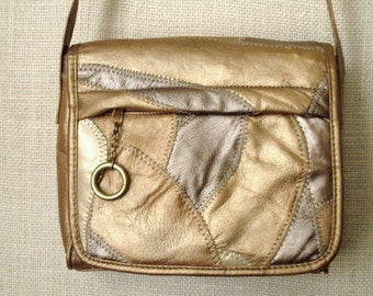 Patchwork Crossbody Bag long strap purse messenger flap bag faux leather metallic gold bronze tan vintage 80s 90s