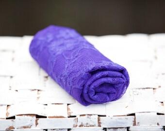 SALE - Purple Stretch Lace Wrap, Newborn Photo Prop, Knit Wrap, Mini Blanket, Photography Props, Floral Stretch Wrap, Cocoon