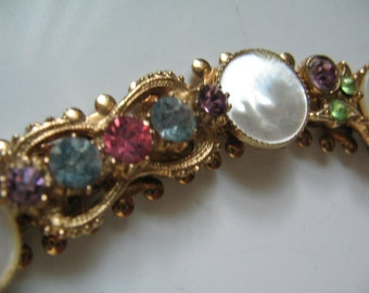 VINTAGE RHINESTONE and MOTHER of Pearl Bracelet Retro 1950's Glamour