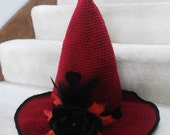 red witch hat with black rose