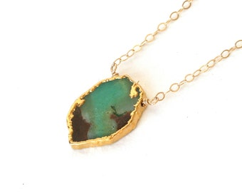 Green and Brown Raw Pendant Necklace Gold