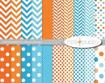 Digital Scrapbooking Paper Pack -   Chevron&Dots Orange and Aqua  -- INSTANT DOWNLOAD