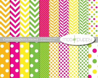 Digital Scrapbooking Paper Pack -   Chevron&Dots Neon  -- INSTANT DOWNLOAD