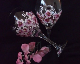 Cherry Blossom Red Wine Hand Painted Wine Glasses/ Stemware