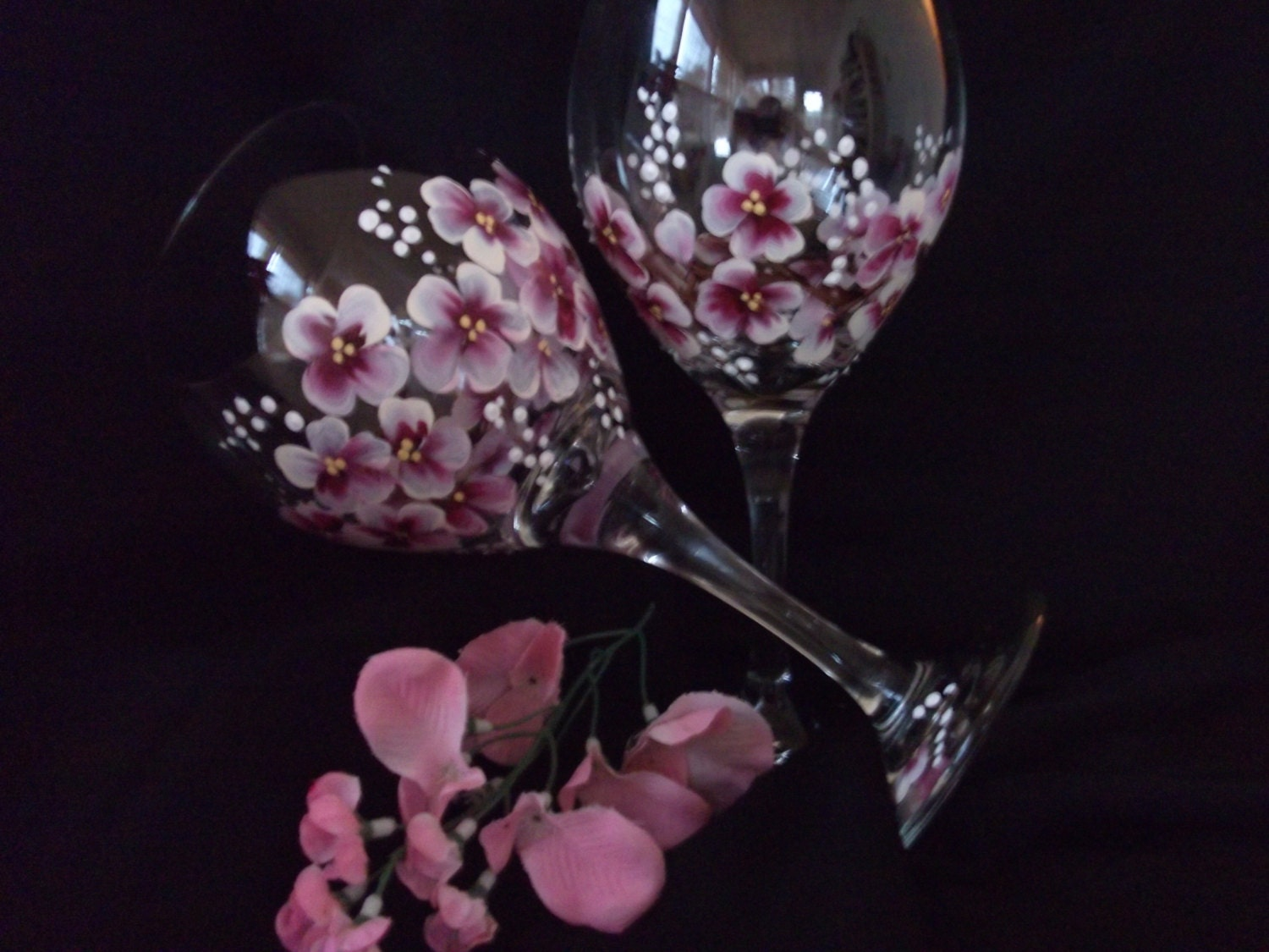 Wine Glass Flower Painting Hand Painted Wine Glasses