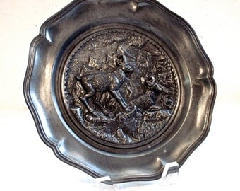 Pewter Plate with Embossed Mountain Goats