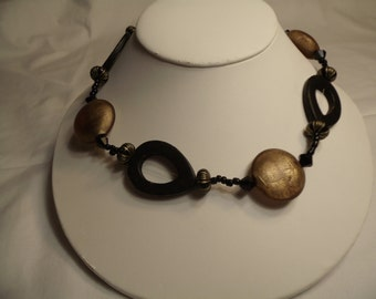 Necklace Black Wood Gold Tone Glass Large Chunky, Large  Toggle Clasp, Chunky Gold and Black Necklace,  Wood and Glass Bead  OOAK