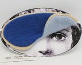 Eyemask recycled CASHMERE or sleep mask - blue & light blue with eggshell trim