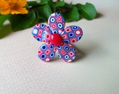 Polymer Clay Ring, patriotic red white and blue flower, adjustable band