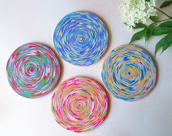 Colorful Coasters, polymer clay drink coasters, set of 4