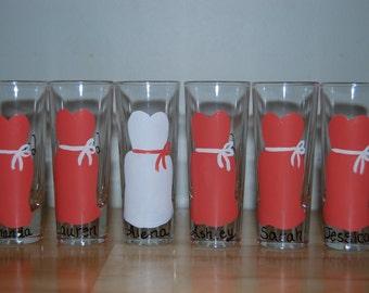 Bridal party shot glasses