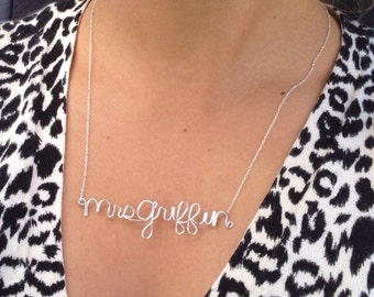 Personalized Mrs Bridal Necklace: 14k Gold, 14k Rose Gold, or Sterling Silver