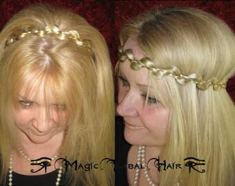 CUSTOM elf TIARA braid HEADBAND hairband Fairy crown hair piece Fantasy Wedding bride tiara Bridal wig Tribal Fusion Belly Dance extension