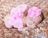Pink Butterfly Wings, Newborn Photo Prop, Flower Headband, Baby Shower Gift, Baby Girl, Ready To Ship