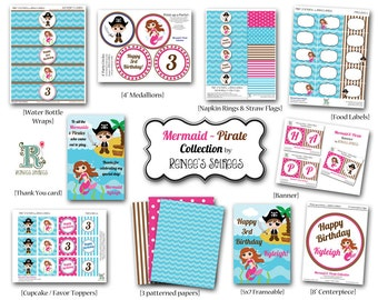 MERMAID and PIRATE Birthday Party - CUSTOMIZED - Printable Coordinating Design Accessories Collection