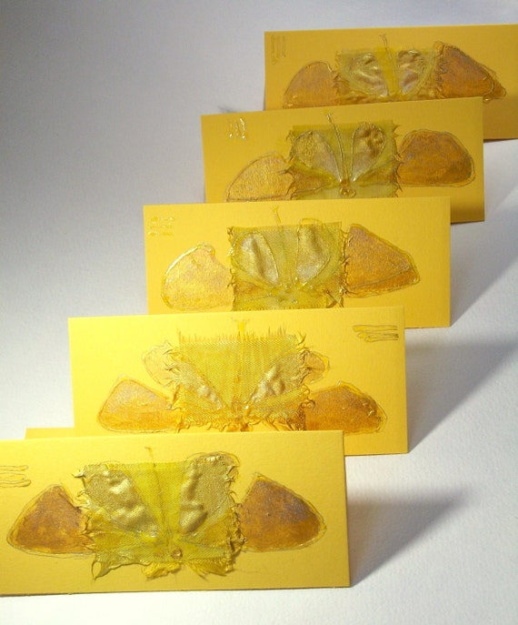 Sunny Butterflies  - set of nine blank greeting cards or invitations for any event