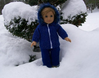 35)Knit Jacket with a Hood and Snow Pants/Bibs for the American Girl, Cabbage Patch, Girlz, Gotz, Bitty Baby  15 Inch Doll 18 Inch Doll