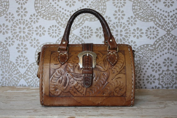 Vintage Tooled Leather Doctors Bag Style Purse with Western Buckle - pursuingandie