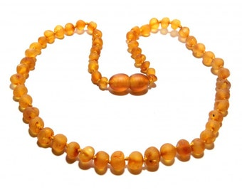 Baltic Amber Teething Necklace - Raw Honey Color - Made in Canada