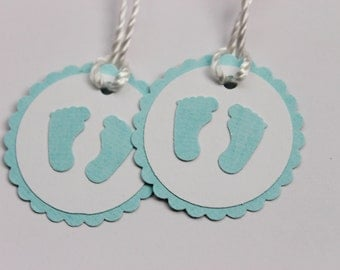 Baby Shower Favor Tags - Little Baby Feet Handmade Favour Tags - Treat Labels, Gift Tags, Thank you Tags - Set of 12