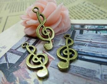 60 pcs 10X26mm The Music Symbols Antique Bronze Retro Pendant Charm For Jewelry Pendant C1107