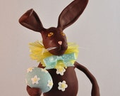 RESERVED FOR NANCY Chocolate Bunny Polymer Clay Figurine