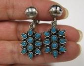 Vintage Faux Turquoise Antique Silver tone Flower Dangle Non Pierced Earrings