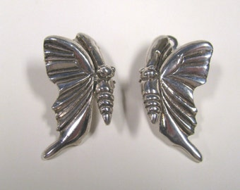Vintage Silver Plate Butterfly Non Pierced Clip on Earrings Signed Patrick Forquy, Paris