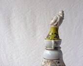 Kwan Yin assemblage, whimsical porcelain figurine