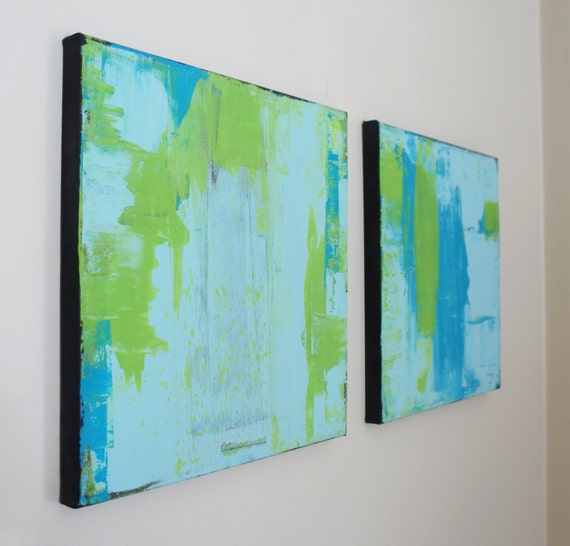 2 piece abstract modern blue and green square paintings, 12 x 12 inches, black edges