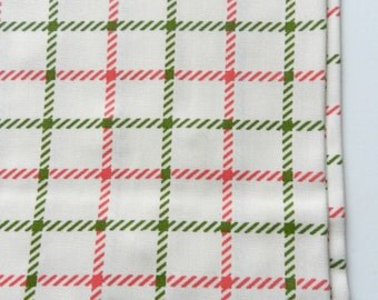 Vintage Yellow Cream Pink and Lime Green Checks Preppy Plaid Synthetic Blend 1 yard