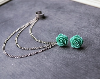 Aquamarine Rose Bloom Chain Ear Cuff Earrings (Pair)