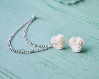 Antique Cream Rose Cartilage Earring (Pair)