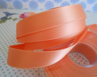 "Ribbon Satin Luxe Double Face Salmon 5/8"" width 5yds"