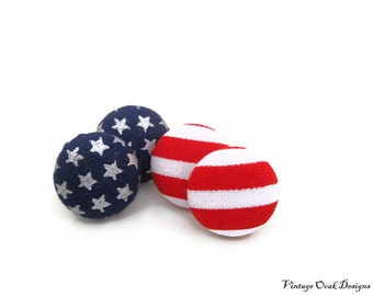 Stars & Stripes Patriotic Studs, Button Earrings, Button Studs,2prs fabric button earrings, red white blue studs,USA studs, July 4th Studs