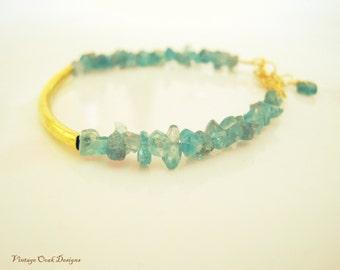 Semi-Precious Stone Bracelet, Aquamarine & Gold Bracelet, Minimalist Jewelry,Seafoam Jewelry,  Bridesmaid Gift, Summer Fashion, Aquamarine