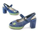 Vintage 1970's Starry Night Faux Suede Platform Slingback Peeptoe Shoes 7.5