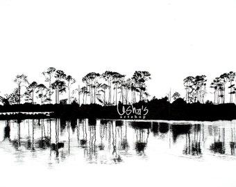 Florida Marina Trees at Sunset Black and White -  11 x 14 print