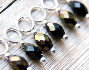 Snag Free Stitch Markers in Black and Gold Metallic Mix, Faceted Glass, Hint of Purple, Set of 6