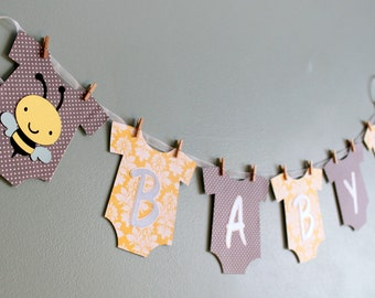 Bumble Bee Baby Shower Banner, yellow and gray, bumble bee baby shower decorations