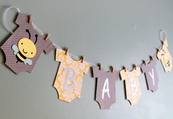 Bumble Bee Baby Shower Banner yellow and gray bumble bee