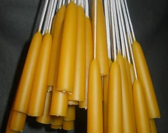 "50 pairs (100 candles) 6"" x 3/4"" Organic Beeswax candles. Free Shipping"