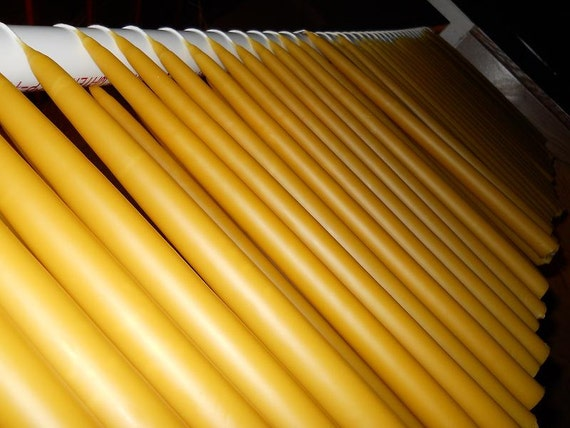 "Bulk 100 (50 pairs) 12"" x 7/8"" hand dipped Organic beeswax tapers candles."