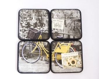 Bicycle Coasters, Yellow Bike Coasters, Wood Wooden Coaster Set of 4, Square Coasters, Paris, France, Hostess Gift