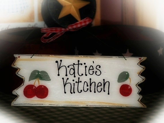 Items similar to cherries personalized kitchen decor sign for Kitchen decor items