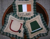 Primitive St. Patrick's Day Ornies Set 3 Tucks Holiday Decor Lucky Horseshoe Flag Leprechaun Hat