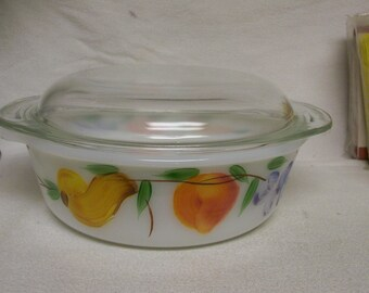 Fire King Casserole Gay Fad Fruits 1 1/2 Quart Casserole Refrigerator Covered Dish Vintage
